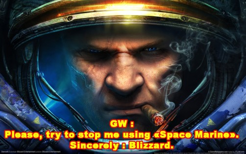 "GW vs Blizzard. Well in this case ""Space Marine"" is not a problem isn't it ?"